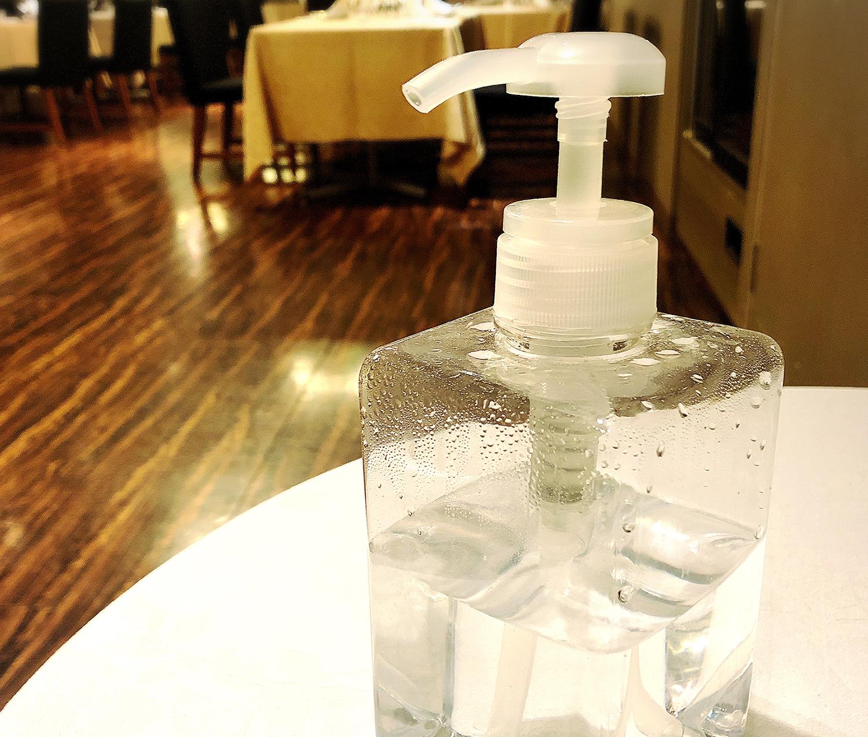 事務所入室や化粧室の使用後に、必ず手指の消毒を行うようアルコール消毒液を増設しております